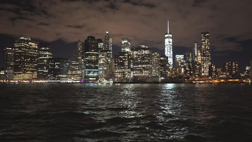 lower manhatten waterfront in new york at night