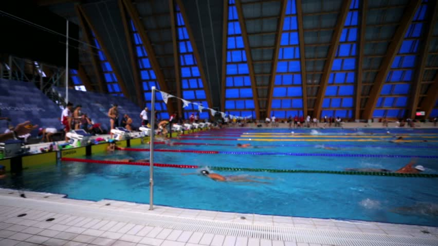 Wonderful KAZAN, RUSSIA   27 JULY 2015: Athletes Swimmers Train In A Pool Of Aquatics  Palace. 16th FINA World Championships. Stock Footage Video 13047959 | ...