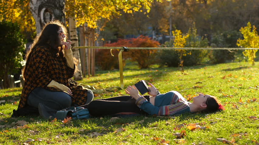 Sofia, Bulgaria - Nov 11, 2015 Teen Girl Lying On A Park -8349