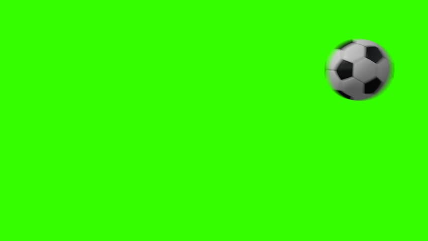 Football Soccer Ball Video Transition for a TV show on a Green Screen Background