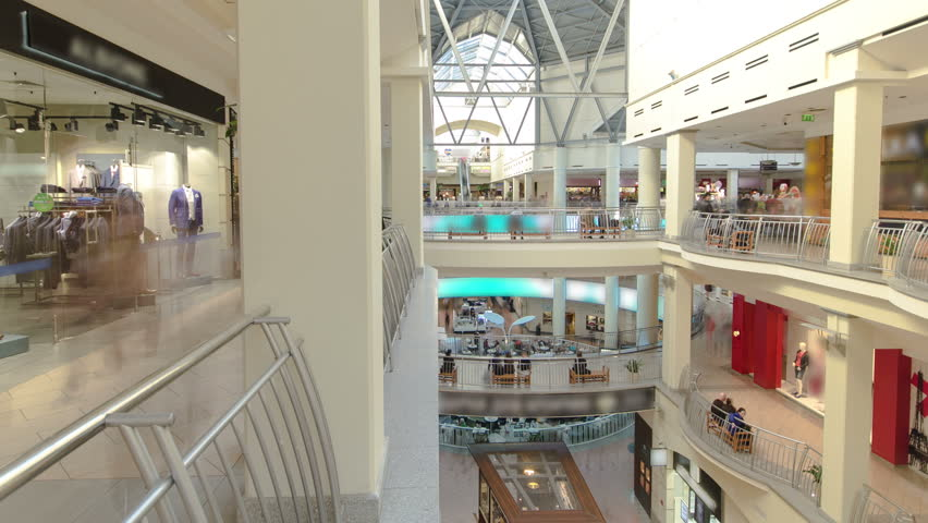 Shopping centre with atrium inside interior on Zemlyanoy Val street, Sadovoye ring in Moscow timelapse hyperlapse fisheye 4K | Shutterstock HD Video #13063445