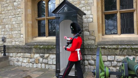 LONDON, ENGLAND - CIRCA 2015 - Beefeater guards march at the Tower Of London in London, England.