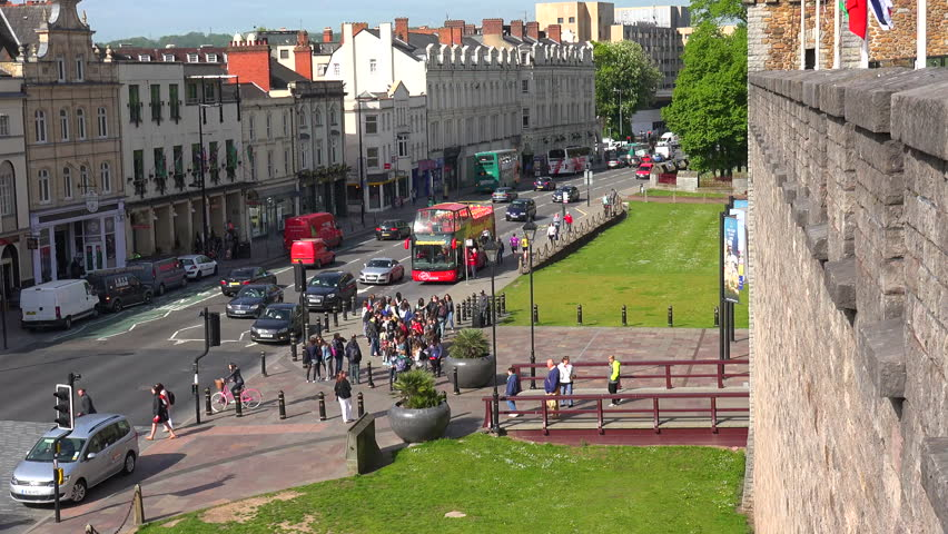 CARDIFF, WALES - CIRCA 2015 - A main street through Cardiff, Wales as seen from Cardiff castle.