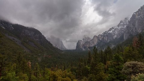 Yosemite Valley Rain - Time lapse of snow and rain clouds rolling over Yosemite Valley.