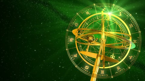 Armillary Sphere And Zodiac Signs. Green Background. 3D Animation.