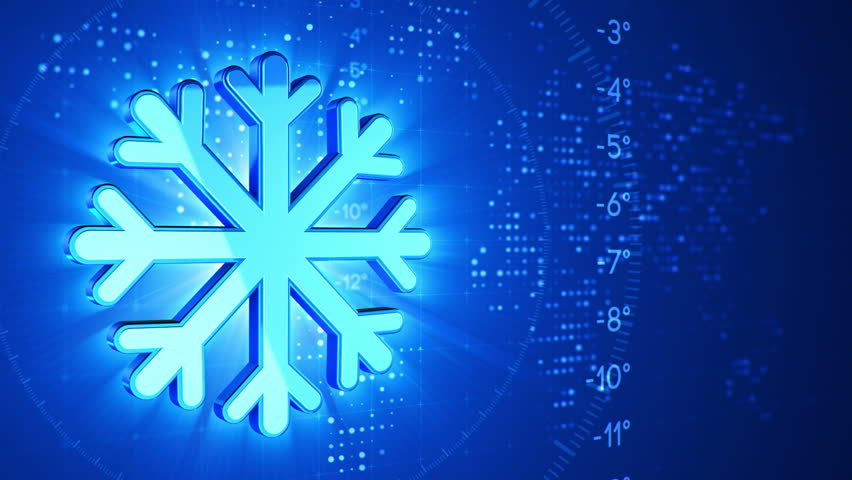 Clean Snowflakes 3d on blue background  Snow… - Royalty Free