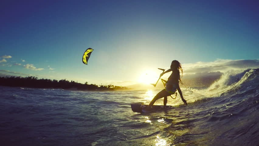 extreme kitesurfing at sunset  summer stock footage video