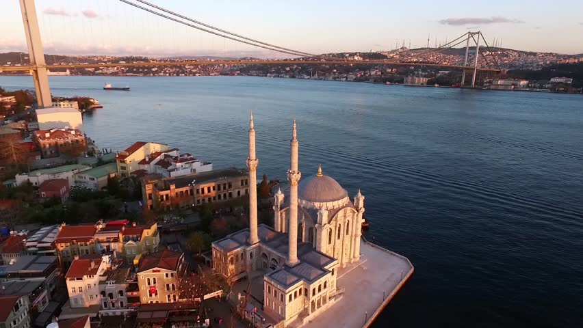 Aerial view of Ortakoy Mosque and Bosphorus Bridge