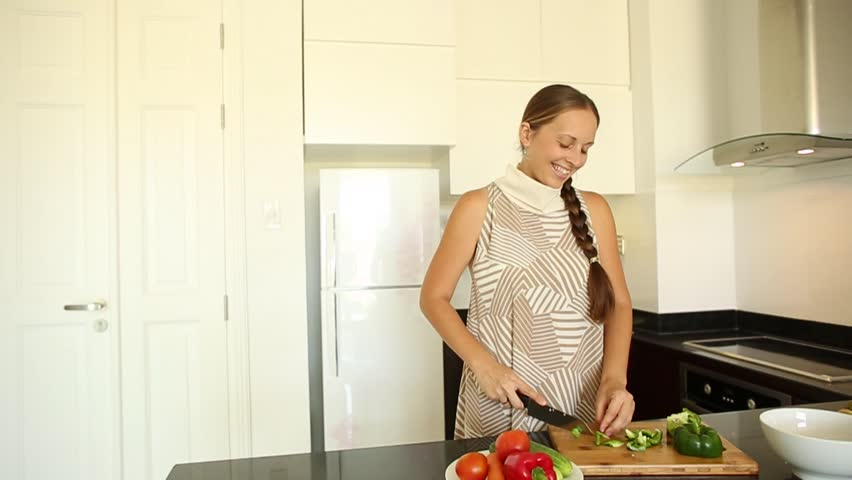 Woman Preparing Salad In The Kitchen Hd Stock Fooe Clip