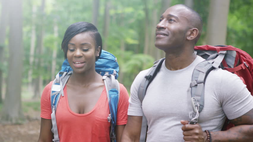4K Attractive African American Couple Hiking In The Woods Shot On RED Epic