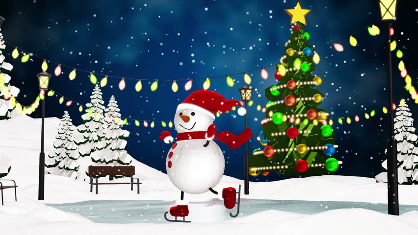 Cute snowman skating in the park. Loop animation | Shutterstock HD Video #13192529