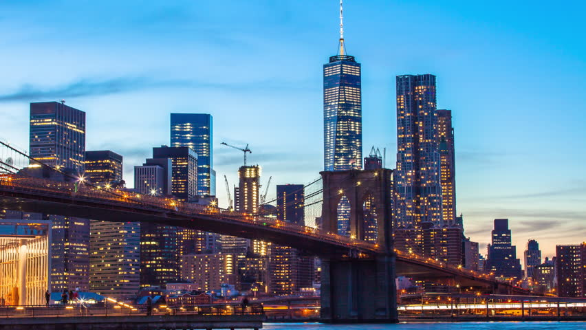 Time lapse sunset shot of lower Manhattan and Brooklyn bridge, New York, USA | Shutterstock HD Video #13209998