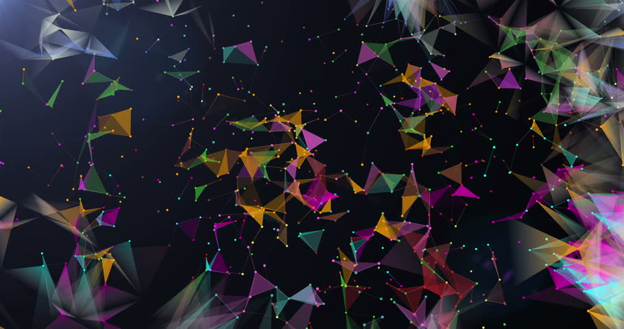 Low-poly triangles moving on dark background seamless VJ loop 15s 4K | Shutterstock HD Video #13211249