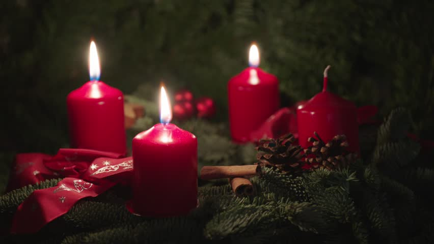 advent wreath, christmas wreath, two candles burning  #13247486