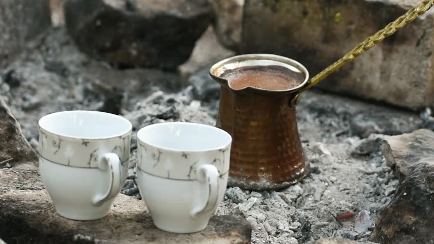 Turkish coffee cooked on embers
