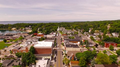 Harbor Springs Aerial v8 Flying low over downtown.