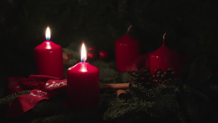 advent candles stock footage video shutterstock. Black Bedroom Furniture Sets. Home Design Ideas