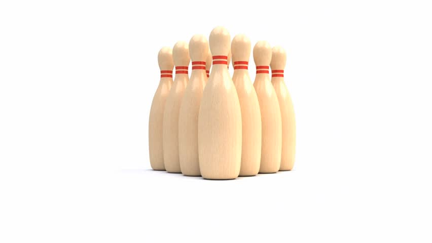 Bowling ball crashing into the pins - 3d animation