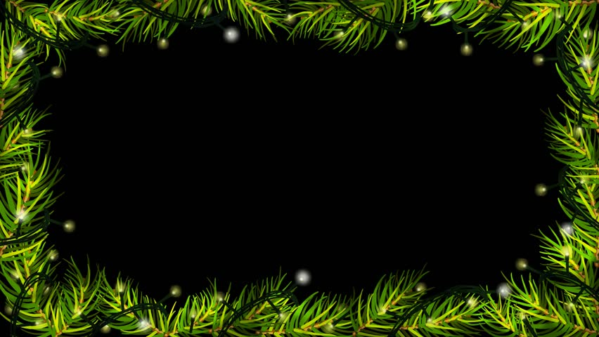 animation of christmas lights with spruce fir branches on black background border