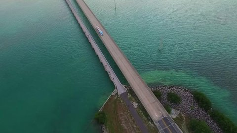 Aerial view of vivid ocean and Seven Mile Bridge on the Overseas Highway in the Florida Keys
