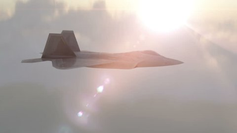 Military plane fighter jet F-22 raptor drops bombs from a high altitude. F-22 in clouds , realistic 3d cg animation