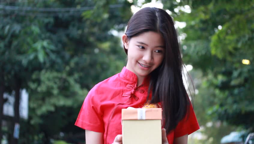 Portrait Of Thai Teen Beautiful Girl In Chinese Dress -4501