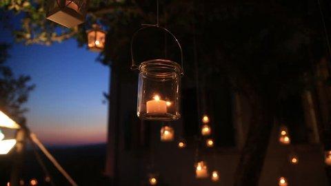 White iron lanterns with candel