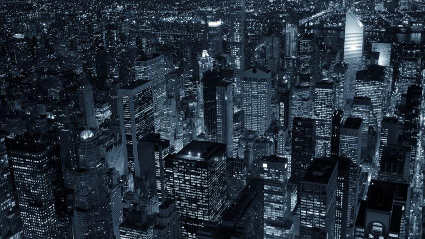Helicopter establishment shot of new york city skyline at night. urban metropolis background. shot on red epic 4K   Shutterstock HD Video #13553969
