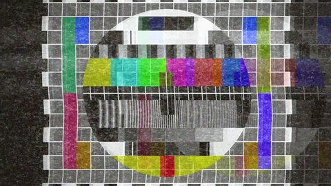 4k analogue old CRT TV test card with color bars, full of noise, static, grain, ghosting artifacts.