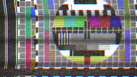 4k analogue old CRT TV test card with color bars, full of noise, static, grain, scanlines.