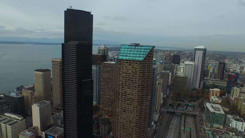 Aerial video of downtown Seattle Washington.