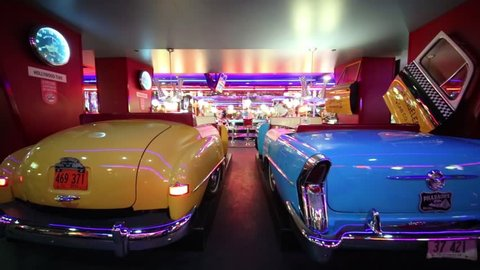 MOSCOW - JAN 18, 2015: Old cars in Beverly Hills Diner - network of stylized American restaurants in Moscow