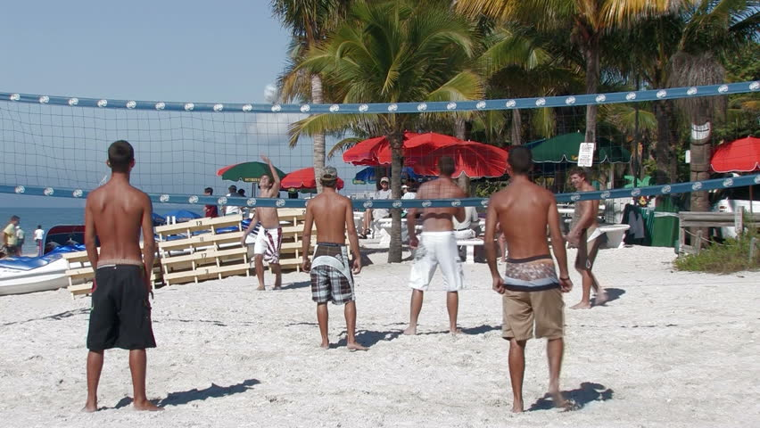 Playing volleyball on the Florida beach