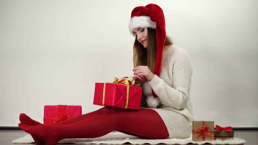 Woman Wrapping Gift Present Tying Ribbon Bow 4K Stock Footage ...