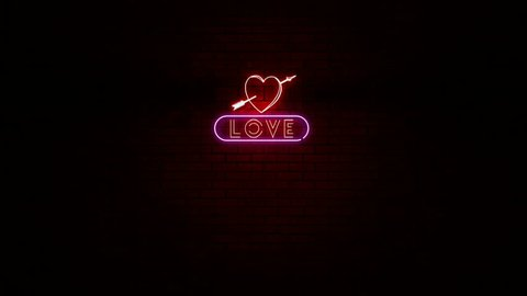Animation of Love Neon Sign Flickering with Alpha Channel
