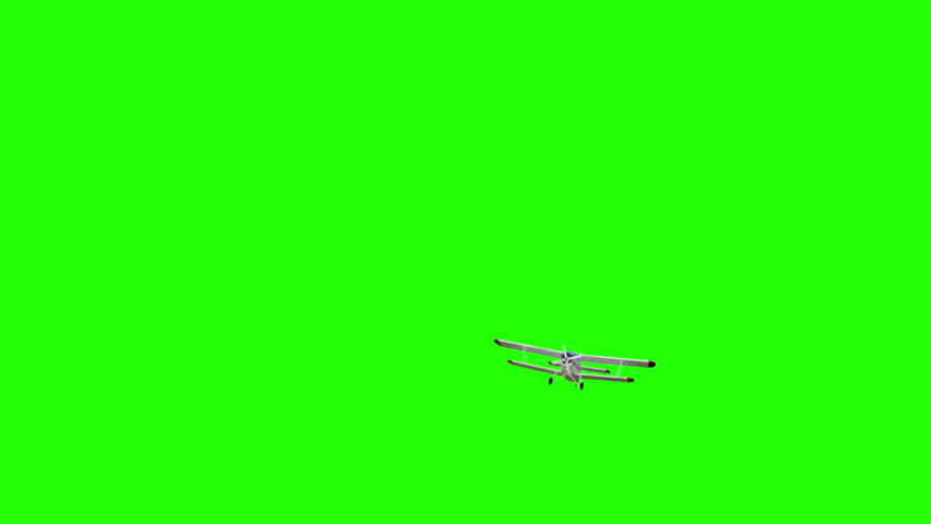 The antonov An-2 bi-plane. Old white plane. Realistic physics animation, realistic reflections and motions. Global illumination render. Green screen footage.