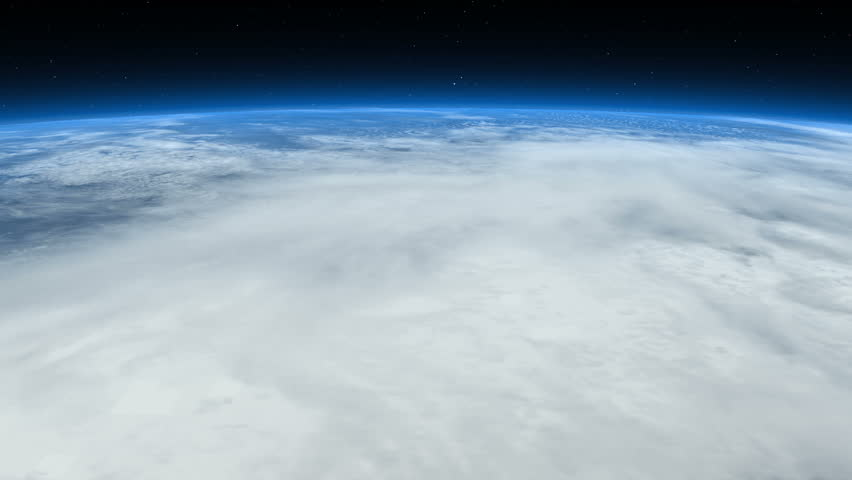 Beautiful Earth - From clouds to space. Flight from a layer of clouds into space with a view to Central America. The atmosphere glows in a bright blue. Elements of this image furnished by NASA