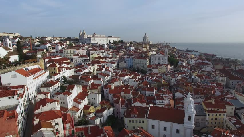 Aerial View Of Alfama, Lisbon, Portugal   4K Stock Video Clip