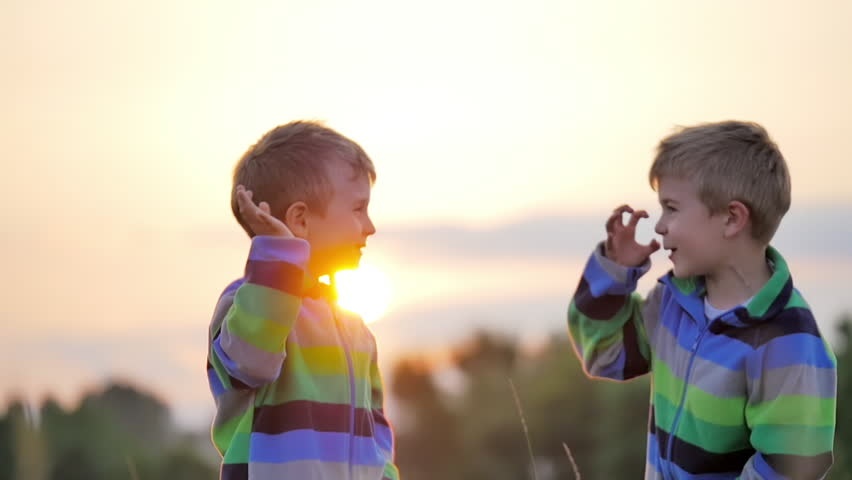 Two Cute Little Boys Smile Stock Footage Video 100 -6031