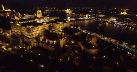 Aerial night view around Buda Castle, Budapest