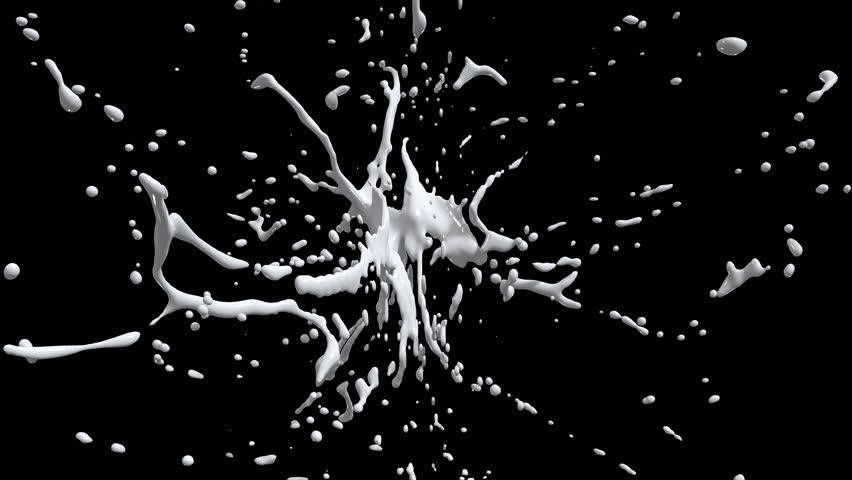 White paint splash explosion. Liquid in Slow motion. Alpha channel mask included. 4K | Shutterstock HD Video #13716779