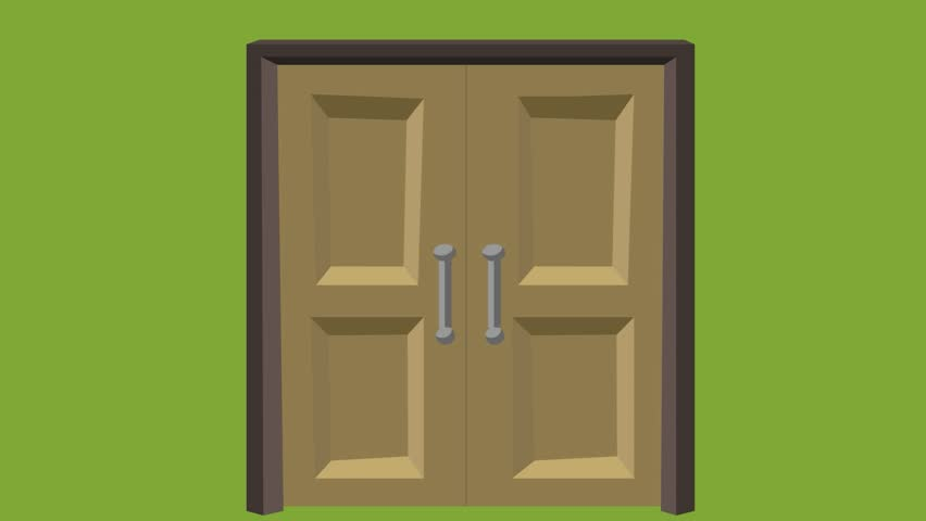 double door opens inward and then closed wooden door opens and closes green background & Open Double Doors Stock Footage Video | Shutterstock