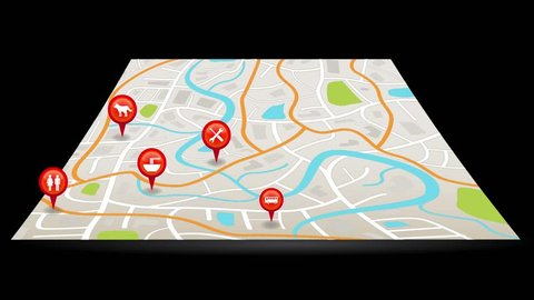 A city map animation with digital satellite gps pin point sign symbol location with colorful badge and label tags in black isolated background in 4k ultra HD