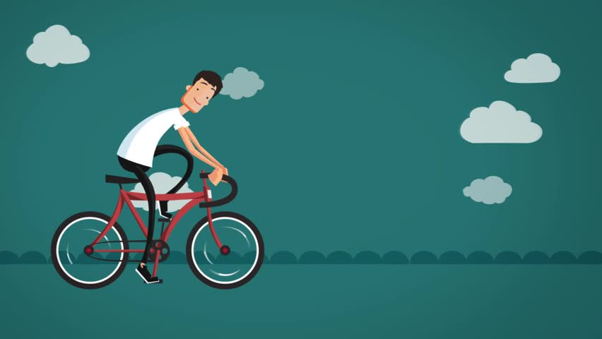 Funny Animated Cartoon, A Young Man Riding A Bicycle On ...