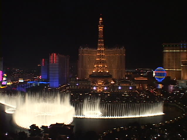 LAS VEGAS, NV - CIRCA 2010: Fountains shoot water into the Las Vegas sky near the Paris Hotel and Casino circa 2010 in Las Vegas, NV.