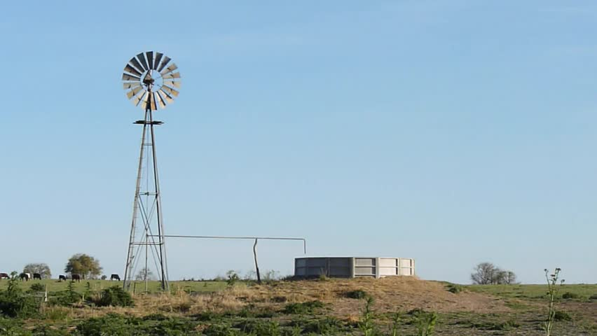 A rotating windmill for pumping water into a tank in the country. Some cows are grazing on the background.
