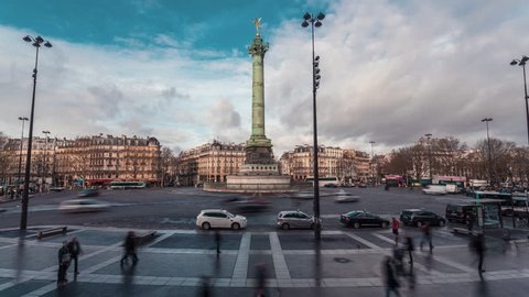 """Place de la Bastille, Morning Traffic 1 - Timelapse : Time Lapse of the """"Place de la Bastille"""" in the morning with tourists and traffic. 15 minutes time lapse"""
