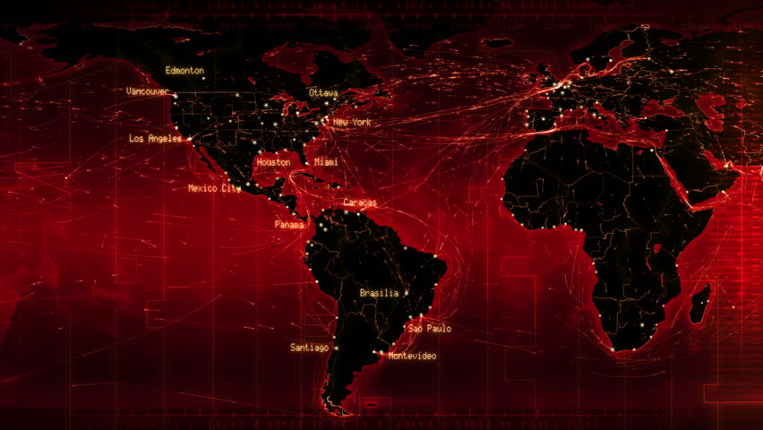 World Map With Connections And Cities Red Loopable World Map
