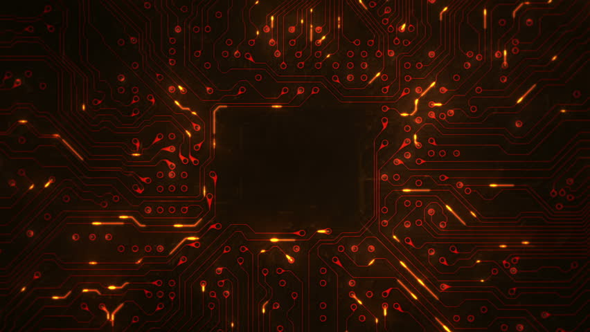 Futuristic circuit board with moving electrons. Loopable. Technology. Orange. Dolly in with copy space. More color options in my portfolio. | Shutterstock HD Video #13807001