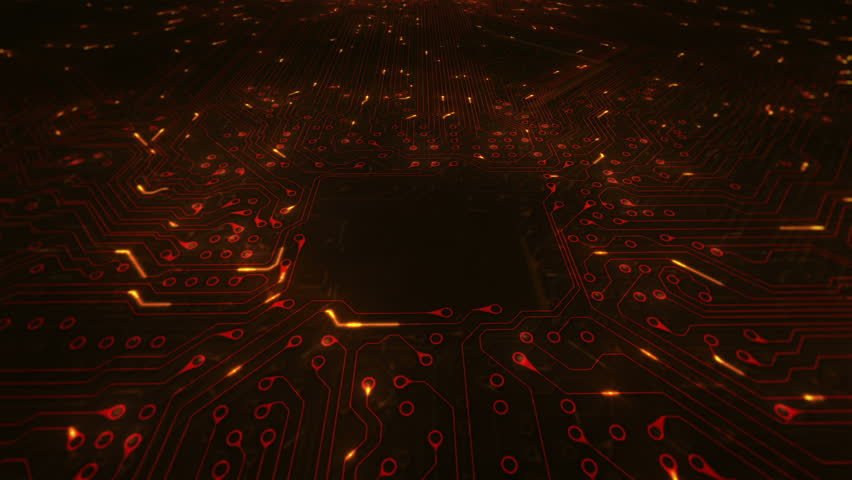 Futuristic circuit board with moving electrons. 360 shot with copy space. Loopable. Technology. Orange. More color options in my portfolio. | Shutterstock HD Video #13807109